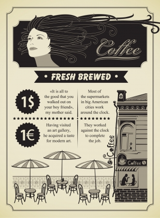 retro banner on the theme of coffee with girl and street cafe Stock Vector - 15863919