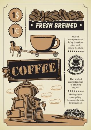 macinino caffè: bandiera retr� sul tema del caff� Vettoriali
