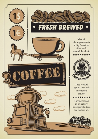book shop: retro banner on the coffee theme Illustration