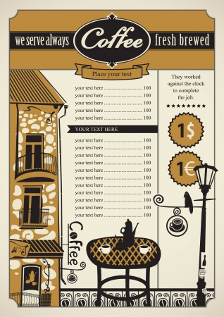 balcony: Retro banner with outdoor cafes and table Illustration