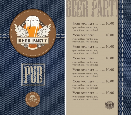 menu for a beer on a background of denim  Vector