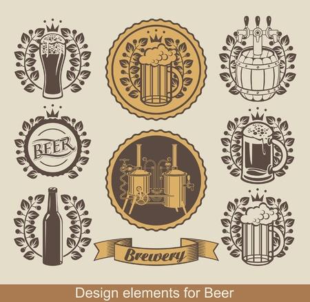brouwerij: set van bier embleem met lauwerkrans Stock Illustratie
