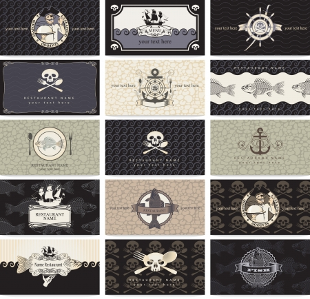 pirates flag design: set of business cards for the pirate bar  Illustration