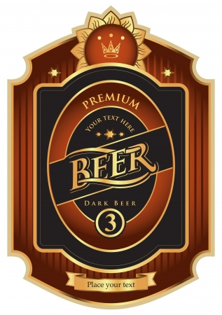 dark brown with gold beer label  Vector