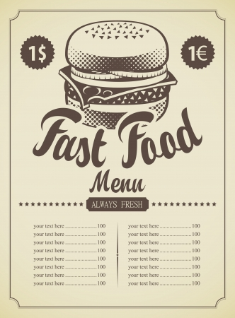 menu for fast food cheeseburger with Vector