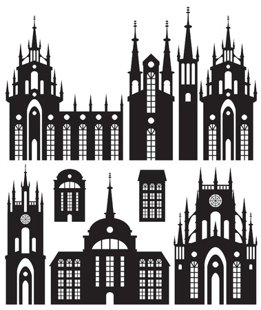 set of silhouettes of buildings castles and churches