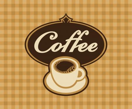 granos de cafe: bandera taza de caf� en un fondo a cuadros