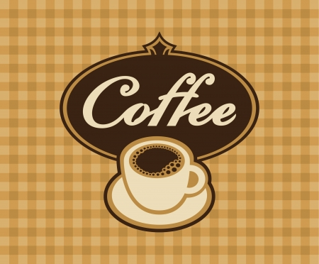 cup and saucer: banner cup of coffee on a checkered background