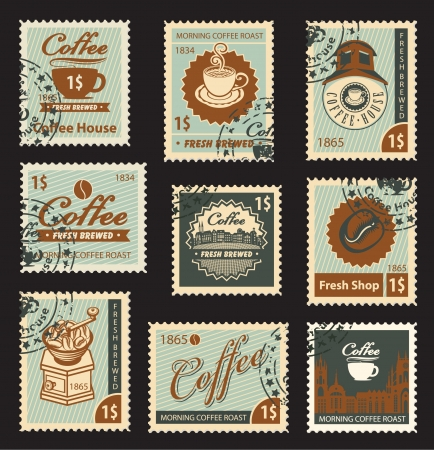 set of stamps on the theme of coffee  Vector