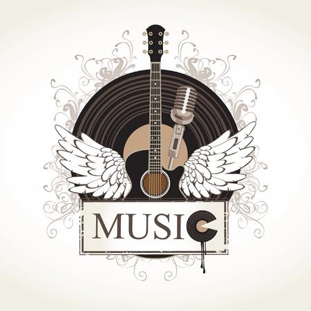 guitarra acustica: banner con una guitarra acústica y un disco de gramófono Vectores