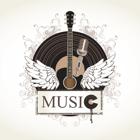 acoustic: banner with an acoustic guitar and a gramophone record Illustration