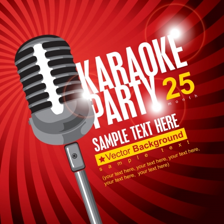karaoke: banner with microphone for karaoke parties