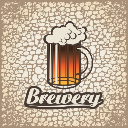 Vector banner with a glass of beer against a brick wall  Stock Vector - 16282843