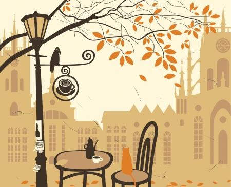 sky lantern: paysage de la vieille ville avec un caf� de la rue Illustration