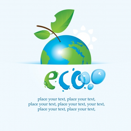 environmental issues: banner with the planet Earth as an apple on environmental issues Illustration