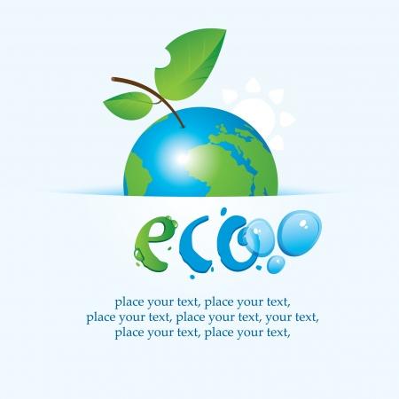�cologie: banni�re avec la plan�te Terre comme une pomme sur les questions environnementales