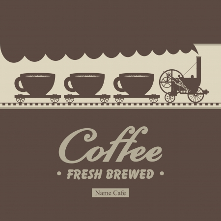 steam locomotive: Banner menu for cafe with a locomotive and wagons with cups