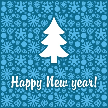 New Year banner with snowflakes and Christmas tree Stock Vector - 16282807