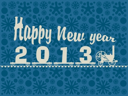 small locomotive carrying figures 2013 and the words Happy New Year Vector