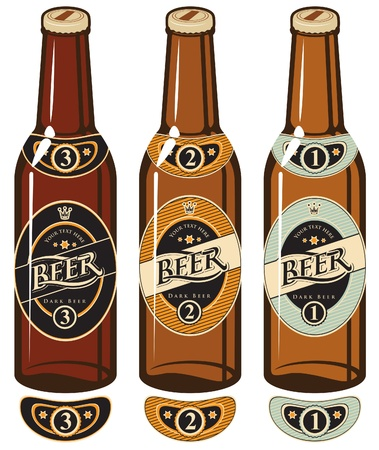 beer bottle: three beer bottles with labels Illustration
