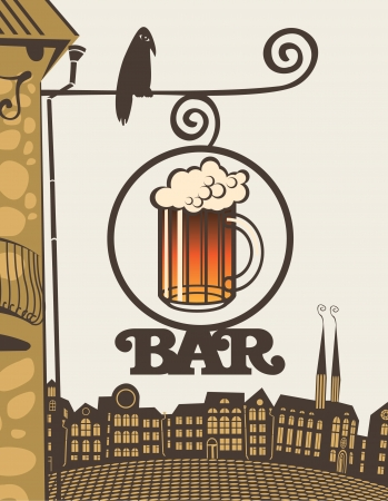 beer bar: sign with a glass of beer and the text bar on the corner of the house
