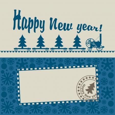 year january: old steam locomotive pulling a Christmas tree Illustration