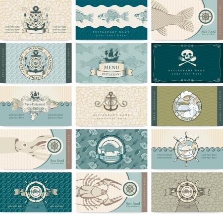pescados y mariscos: Conjunto de tarjetas de visita en un tema del mar y mariscos Vectores