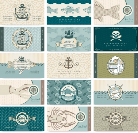set of business cards on a sea theme and seafood Illustration