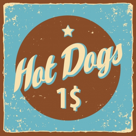 Retro banner with the inscription Hot Dog Vector