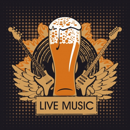 beer background: banner for the pub with live music Illustration