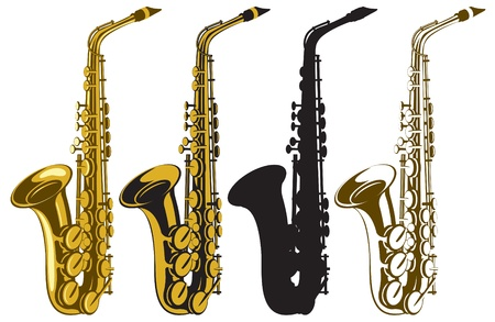 set of four saxophones