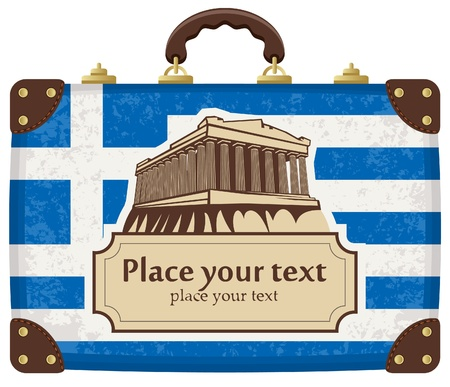 the acropolis: travel suitcase with flag of Greece and the Acropolis Illustration