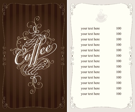 savor: coffee menu in Baroque style