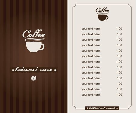 chocolate background: menu for the cafe with a cup of coffee Illustration
