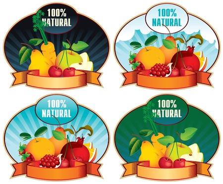 jugo de frutas: juego de cuatro frutos sellos y etiquetado Natural 100 Vectores