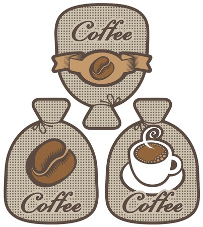 label for coffee in the form of a bag Stock Vector - 16999450
