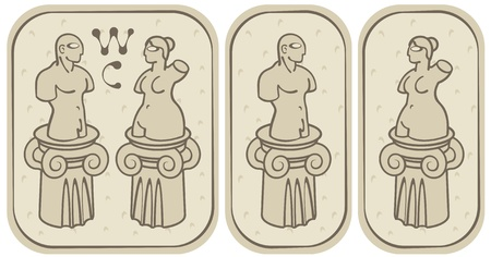 toilette: set of labels for the male and female toilets in the ancient style