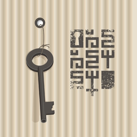 banner with key on a background of corrugated cardboard Vector
