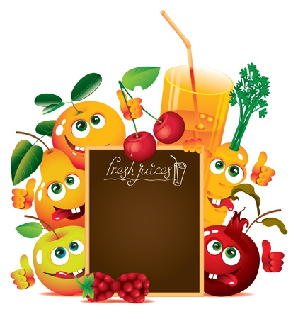 carrot juice: banner for juice and fresh juices with funny fruits