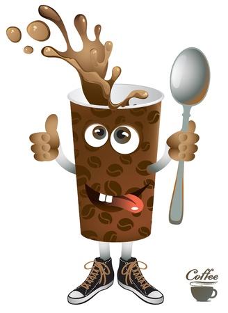 Vrolijke kopje koffie met zijn voeten en handen Vector Illustratie