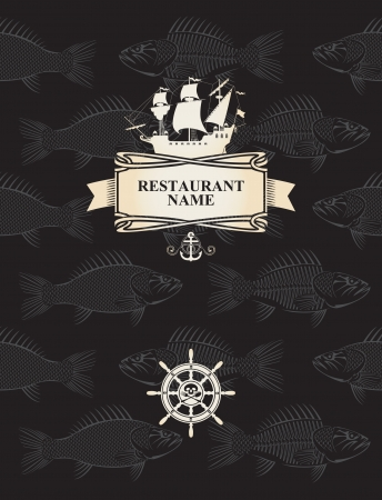 jolly roger pirate flag: menu with a pirate sail and steering wheel on a background with the skeletons of fish Illustration
