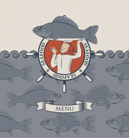 banner with cook and the fish on a tray  Vector