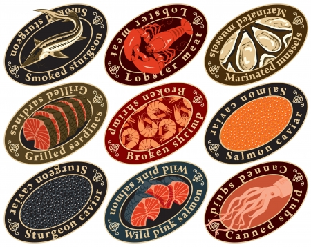sturgeon: set of labels for seafood
