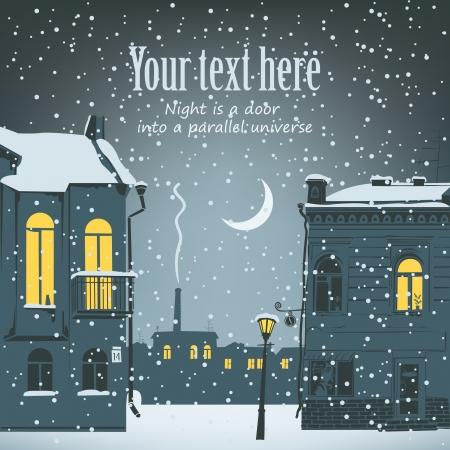 sky lantern: Paysage d'hiver urbaine de nuit avec la lune et lampe de poche Illustration
