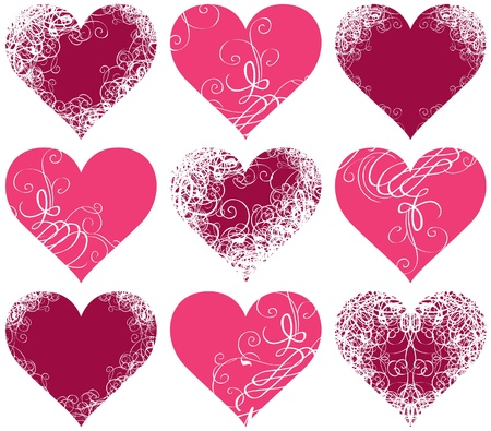 set of ten symbols of hearts with floral ornament  Vector