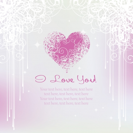 card for Valentine s Day with a heart symbol on a gentle pink background Stock Vector - 17270764