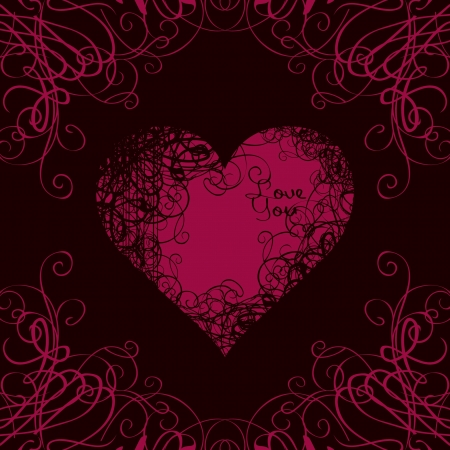 red heart in curls on a black background with the words I love you  Vector
