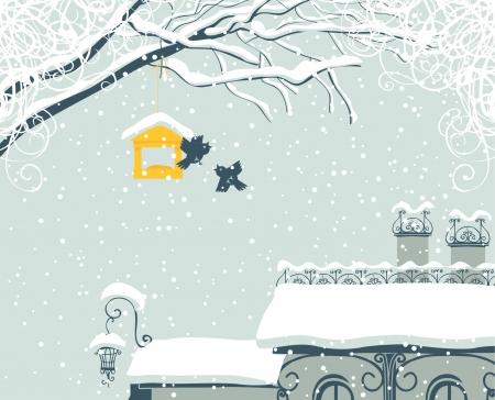 Paysage de la ville d'hiver avec toit recouvert de neige et les oiseaux