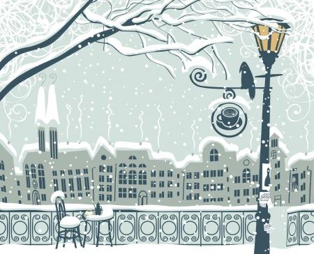 nuit hiver: Paysage urbain d'hiver avec une lanterne et un oiseau Illustration