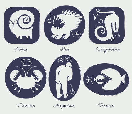 eastern zodiac: Set of funny signs of the zodiac Illustration